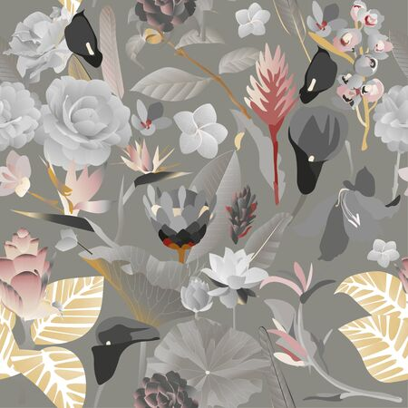 Seamless pattern. Exotic aquatic and tropical flowers with large leaves on a grey background. Monochrome vector illustration. Picture with lily and callas in black and white color.