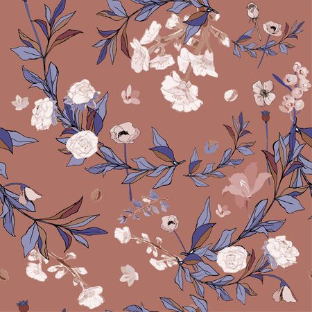 Flowers of roses and poppies, twigs of grass and leaves seamless vector pattern. Illustration with plants.