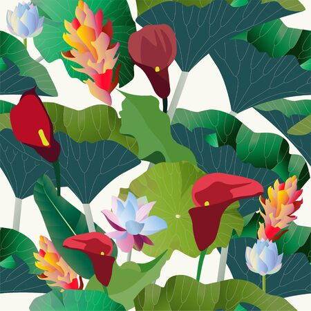 Red calla lilies, yellow, blue aquatic and tropical flowers with large green leaves palm tree on a white background. Vector illustration. Seamless pattern. Ilustracja