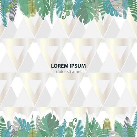 Seamless pattern with branches and leaves of palm and fern on a light gray background. Vector illustration with plants and silver triangles. Delicate pastel colors. Ilustracja