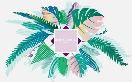 Fern and palm leaves for your design. All objects are grouped. Seamless background.