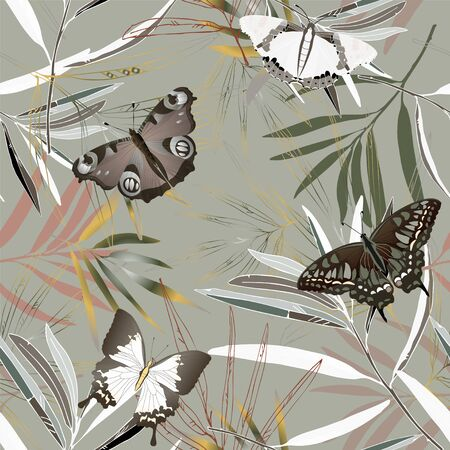 Butterfly and tropical palm leaves vector illustration. Picture with gold, blue and green colors. Endless pattern. Website page. EPS 10