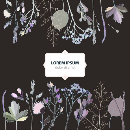 Vector illustration with sprigs, leaves, blades of grass, inflorescences and seeds on a dusty black background. Card with text. Delicate pastel colors. EPS 10