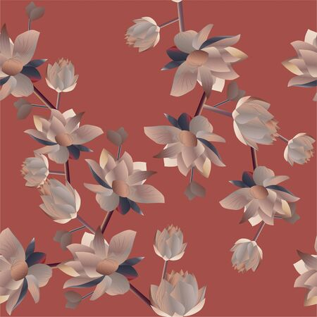 Aquatic and tropical flowers on a red background. Vector illustration. Seamless pattern.  Picture with lilies.