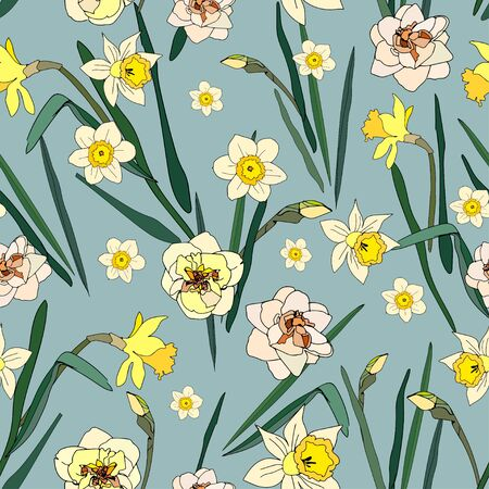 Seamless pattern with flowers and leaves of daffodils. Tropical flowers vector illustration.
