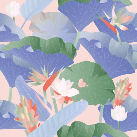 Seamless pattern. Red, yellow, blue aquatic and tropical flowers with large green leaves on a pink background. Vector illustration. Picture with lilies and strelitzia.