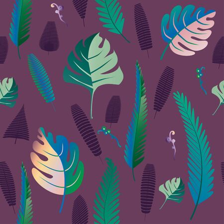 Fern and palm leaves pattern. Seamless background. Vector illustration