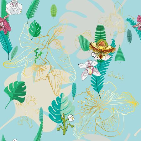 Seamless pattern with golden, pink and white flowers orchids and green tropical palm leaves on light blue background. Vector illustration with plants.