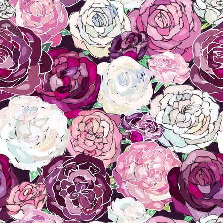 Floral background with maroon, purple, burgundy, violet, white, pink roses. Imitation of watercolor. Seamless pattern.