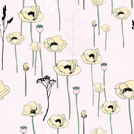 Flowers and boxes of poppies, twigs of grass seamless pattern. Vector illustration with plants. 矢量图像