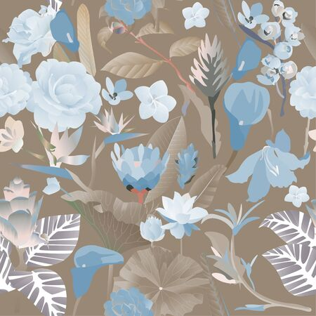 Seamless pattern. Blue exotic aquatic and tropical flowers with large leaves on a brown background. Vector illustration. Picture with lily and callas.