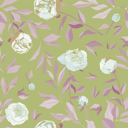 Seamless pattern with flower and leaves. Tropical flowers vector illustration.