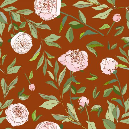 Seamless pattern with flower and leaves of peonies. Tropical flowers vector illustration. Ilustracja