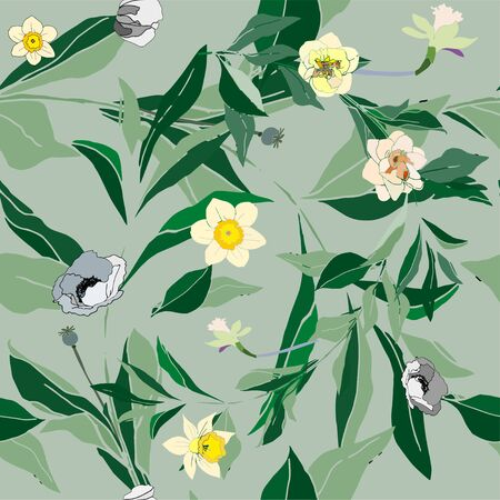 Seamless pattern with flower of narcissus and leaves. Tropical flowers vector illustration.
