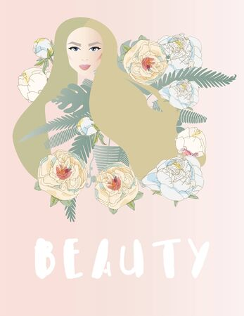 Beautiful woman with long hair surrounded by tropical leaves of palm trees and flowers peonies and roses. Pretty girl with stylish makeup. Pinc colors. Ilustracja
