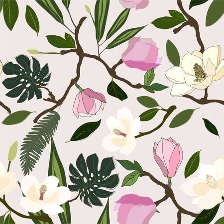 Leaves, twigs and flowers artistic seamless pattern.