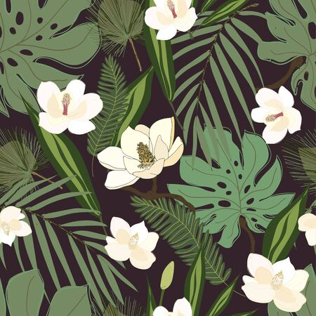 Leaves, twigs and flowers artistic seamless pattern. Иллюстрация