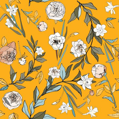 Seamless pattern with flowers and leaves of roses, peonies and daffodils. Tropical flowers vector illustration.