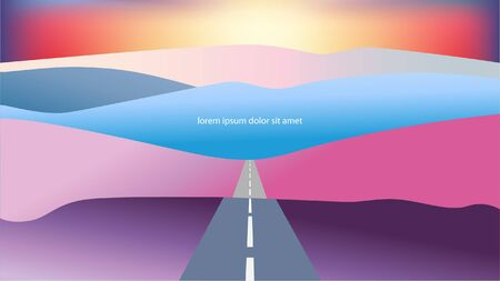Landscape with hills and road against sunset, sunrise. Vector illustration. Greeting card, web page, invitation. Orange, blue, pink, golden colors. Иллюстрация