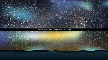 Night landscape with hills and falling stars vector illustration. Star light background. Outer space. EPS10 Иллюстрация
