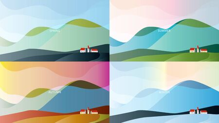 Minimalistic landscape with high hills and houses under their slopes. Season spring, summer, autumn, winter. Vector illustration. EPS10