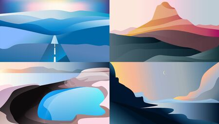 Landscape with lake and sea in the background. Vector illustration. Blue, pink, golden colors