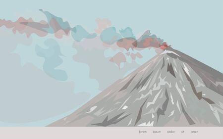 Imagen de un volcán sobre un fondo azul claro. La ilustración vectorial es de colores marrón, beige, rojo, carmesí y rosa. eps 10