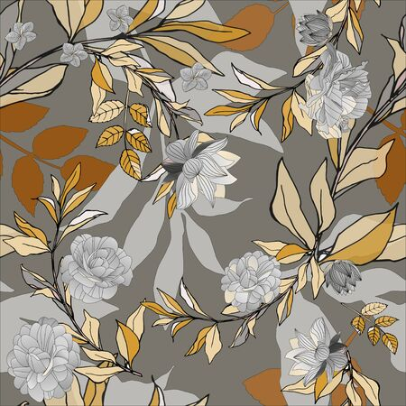 Seamless pattern with pink roses and grey leaves on light background. Tropical flowers, lily. Vector illustration with plants. Gentle pastel colors.