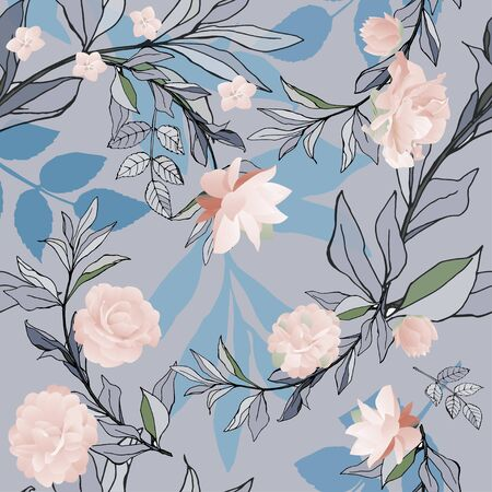 Seamless pattern with pink roses and lilys with lilac, blue and violet leaves on a grey background. Tropical flowers, lily. Vector illustration with plants. Gentle pastel colors.
