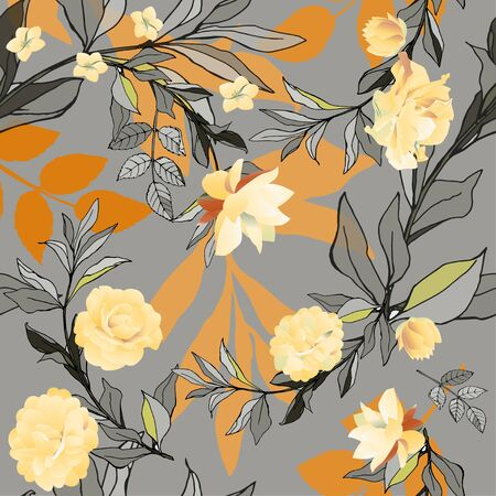 Seamless pattern with orange roses and lilys with leaves on a grey background. Tropical flowers, lily. Vector illustration with plants. Gentle pastel colors. Vektorové ilustrace