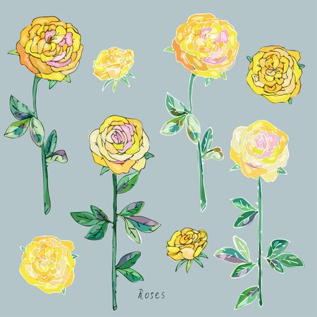 Yellow roses with green leaves and stems on a gray background. Imitation of watercolor. Seamless pattern. Vector illustration. 矢量图像