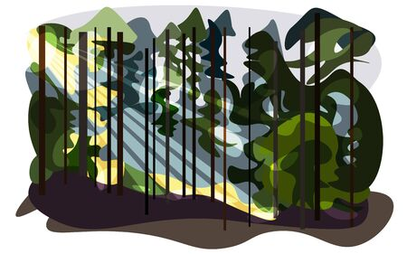 Minimalistic landscape with forest. Pines and spruce trees in the sun light. Landscape with rays sunrise or sundown. Vector illustration in blue, green, gray and yellow colors. EPS 10