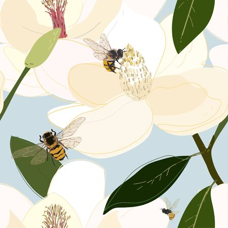 Bees collect nectar from the core of large flowers seamless vector pattern.