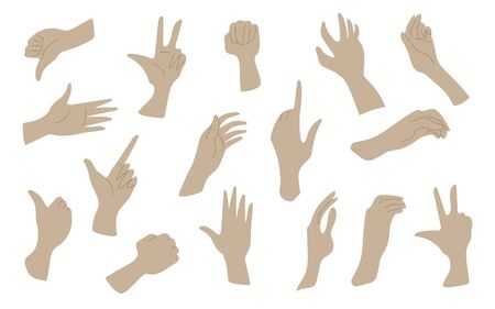 Set of different hand gestures. Vector illustration. Set of different hand gestures. Vector illustration. All objects are grouped and isolated. EPS 10