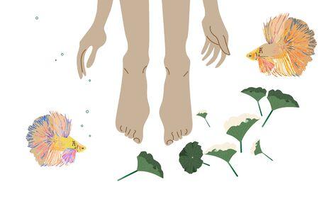 Jambes et mains dans l'eau, autour des poissons et des algues. Pédicure et manucure, procédures d'eau pour les pieds - peeling, bains. Illustration vectorielle. EPS10 Vecteurs
