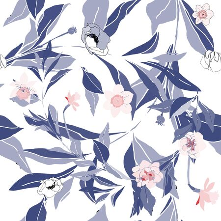 Seamless pattern with flower and leaves of peonies. Tropical flowers vector illustration. EPS 10 Vectores