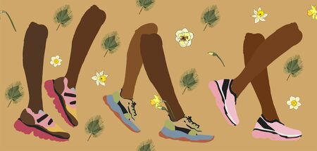 Modern fashionable sneakers on brown legs on a tan cream color background. Vector hand drawn illustration. EPS10 Foto de archivo - 140027017