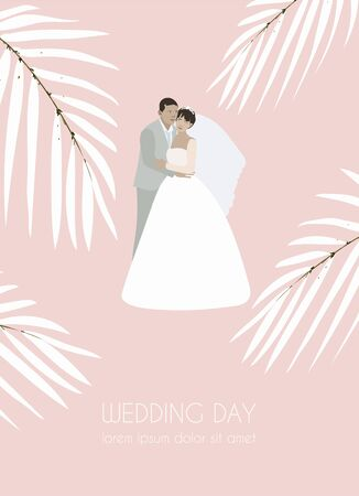 Standing groom hugs the bride in a white wedding dress with veil. Married couple surrounded by palm leaves. Invitation, banner, postcard. The inscription 免版税图像 - 140027073