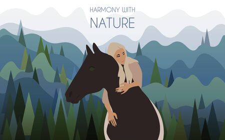 A girl riding a horse without a bridle against the backdrop of a landscape with mountains covered with spruce. Harmony with nature vector illustration. EPS10