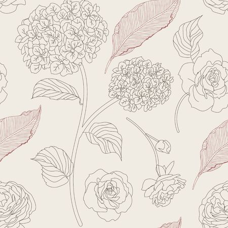 Drawn hydrangea, roses and leaves seamless pattern. Monochrome image of flowers vector illustration. Imitation of pencil drawing. EPS10