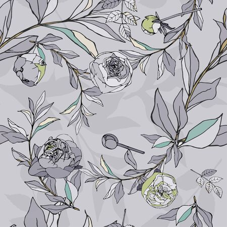 Seamless pattern with light blue roses and leaves. Vector illustration with plants. Gentle pastel colors. EPS 10