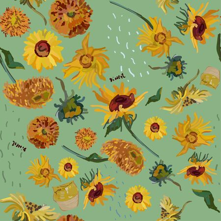 Sunflower flowers on a background of sea green. Vector illustration based on the oil painting of Van Gogh.