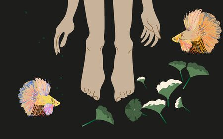 Legs and hands in water, around fish and seaweed. Pedicure and manicure, water procedures for the feet - peeling, baths. Vector illustration. EPS10