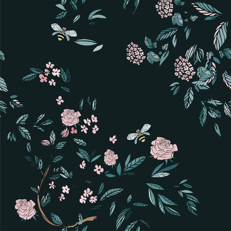 Branches of flowering trees vector illustration. Seamless pattern with bees, twigs, leaves and flowers on a dark blue background.