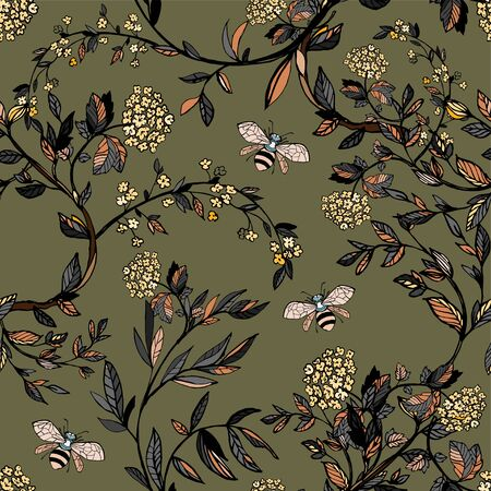 Branches of flowering trees vector illustration. Seamless pattern with bees, twigs, leaves and flowers on a sag background.