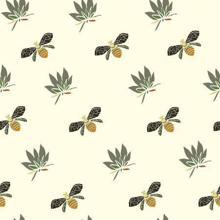 Flowers and bees vector illustration. Seamless pattern cream beige background. Ilustrace