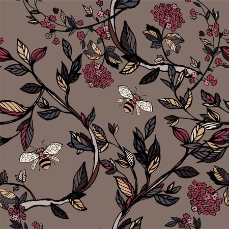Branches of flowering trees vector illustration. Seamless pattern with bees, twigs, leaves and flowers on a brown, cream background.