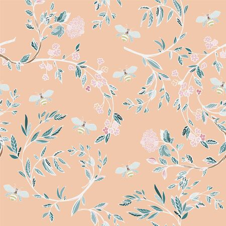 Branches of flowering trees vector illustration. Seamless pattern with bees, twigs, leaves and flowers on a beige background.