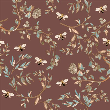 Branches of flowering trees vector illustration. Seamless pattern with bees, twigs, leaves and flowers on a light brown background.