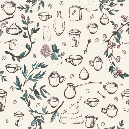 Pencil drawing of coffee elements, mugs, coffee grinder, spoons, turk for making coffee and flower branches. Vector illustration. Seamless pattern for coffee houses or store. Cream, light beige colors Vector Illustration